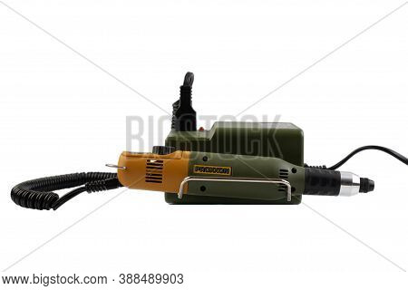 Zaporizhzhya, Ukraine - October 6, 2020: Proxxon Micromot Mains Adapter Ng 2/s And Mill/drill Unit.