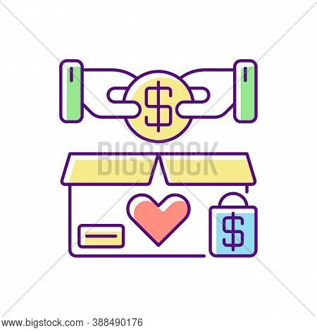 Charity Shop Rgb Color Icon. Charitable Sale, Nonprofit Organization. Collecting Money For Social Ca