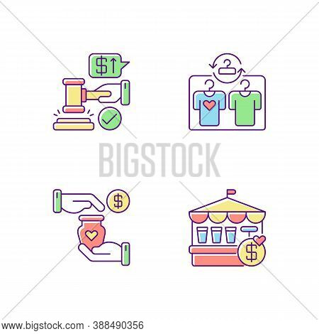 Retail Services Rgb Color Icons Set. Auction, Second Hand Store, Handicraft Market And Fete. Public