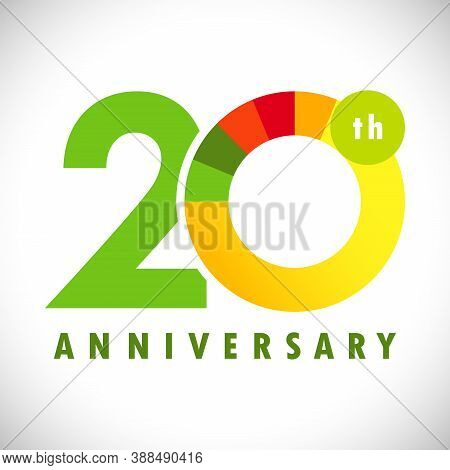 20 Th Anniversary Numbers. 20 Years Old Coloured Congrats. Cute Congratulation Concept. Isolated Abs