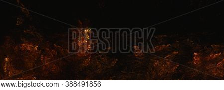Computer Generated Fractal Abstract Background. Orange Flame Over Dark Space