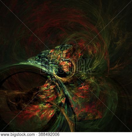 Computer Generated Fractal Abstract Background. Multicoloured Shapes Over Dark Space