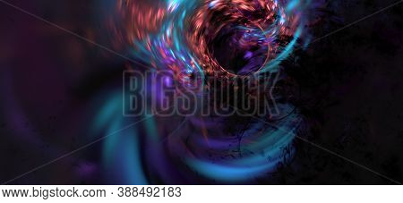 Computer Generated Fractal Abstract Background. Blue Orange Purple Reflection Over Dark Space