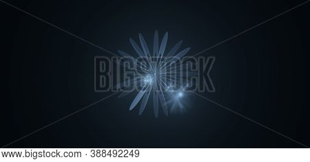 Computer Generated Fractal Abstract Background. Blue Flowers Over Dark Space