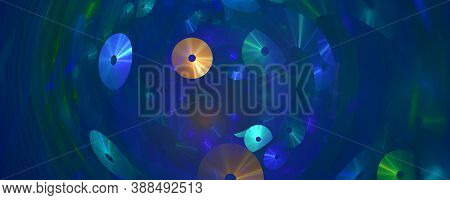 Computer Generated Fractal Abstract Background. Compact Discs Swirling On Blue Space