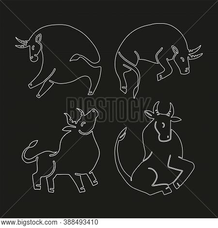 Set Of Bulls. Vector Linaer Illustration. Stylized Silhouettes Of Bulls, Standing In Different Poses