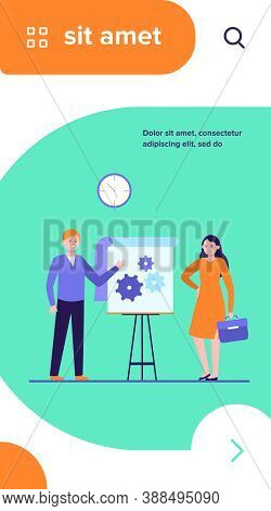 Manager Presenting Technical Solution. Speaker Pointing Hands At Gears On Flipchart Flat Vector Illu