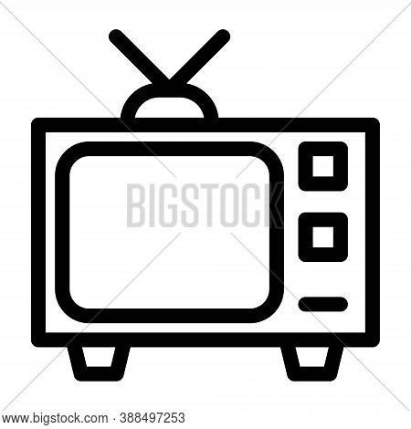 Retro Tv Icon In Line Style. Vintage Television With Antenna Symbol.