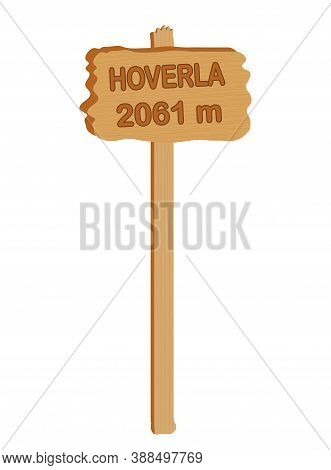 Wooden Plate With The Inscription Hoverla 2061 Meter On A White Background