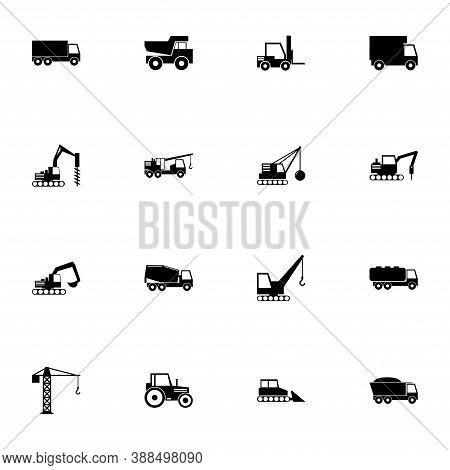 Construction Vehicles Icon - Expand To Any Size - Change To Any Colour. Perfect Flat Vector Contains