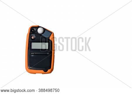 Light Meter On White Background. Flash Meter, Device For Measuring Illumination Isolated On White Ba