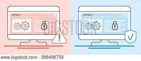 Http And Https Protocols Difference Concept Vector. Cyber Safe, Security For Website, App Are Shown.