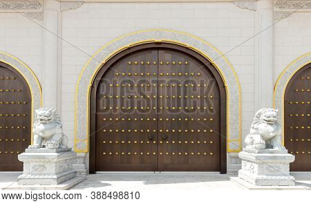 The Door And Knockers Of Chinese Temple. Ancient Asian Door From Temple. Chinese Door. Oriental Desi