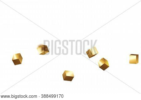 Vector Square Bokeh. Iridescent Background. Chaotic Confetti Backdrop. Foil Border. Geometric Annive