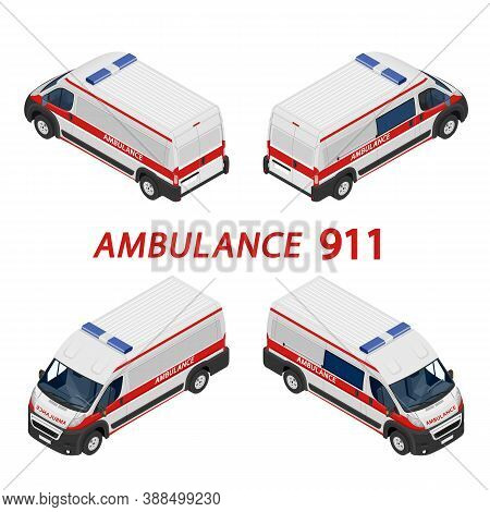 Transport Isometric Set Ambulance Van Isolated Vector Illustration. Emergency Medical Evacuation Acc