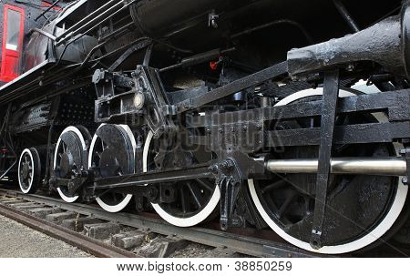 Old Black Steam Locomotive Train with closeup of wheels and boiler