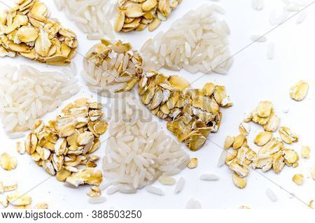 Snowflake Of Rice And Oatmeal, Oatmeal And Rice On A White Background, Rice And Porridge, Flower Of