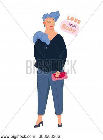 Body Positive Female Consept. Smilling Plus Size, Chubby,curvy Woman. Body Positive Slogan.hand Draw