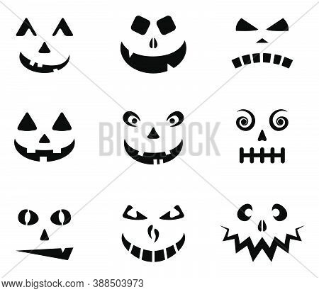 Halloween Carved Faces Silhouettes Collection. Jack O Lantern Scary Emotions Cartoon Vector Set Isol