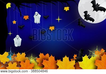 Happy Halloween. Ghosts, Bats, Yellow Autumn Leaf And Bright Moon On Dark Background. Character Hall