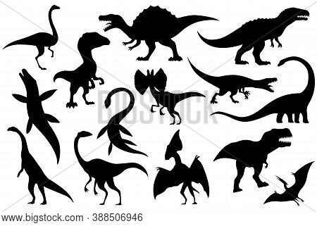 Collection Silhouettes Of Dinosaurs Skeletons. Vector Hand Drawn Dino Skeletons. Exhibit Fossils In