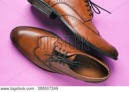 Mens Shoes Made Of Genuine Leather. Stylish Mens Brown Shoes. Elegant Shoes For The Office. Business