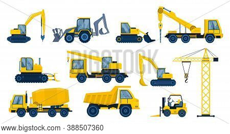 A Large Set Of Construction Equipment. Special Machines For The Building Work. Forklifts, Crane, Exc