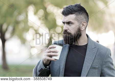 Man Bearded Hipster Prefer Coffee Take Away. Businessman Drink Coffee Outdoors. Reloading Energy. Re