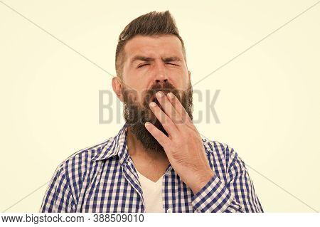 Boring Concept. Man Bored Yawning White Background. Fed Up. Feel Tired And Sleepy. Sleepy Guy. Bored