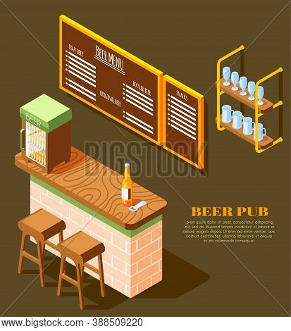 Beer Pub Interior Elements Isometric Background With Counter Menu Board Cooler Glass Rack Bottle Ope
