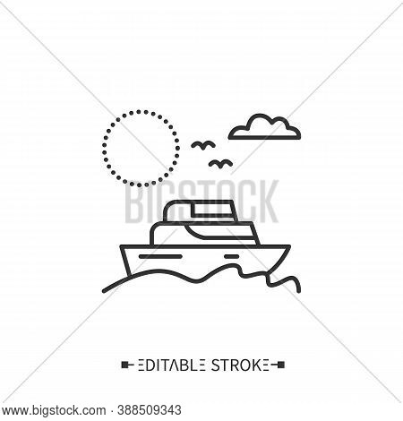 Yachting Line Icon. Marine Tourism. Sailing And Boating Vacation. Adventure Tourism. Coastal Water S