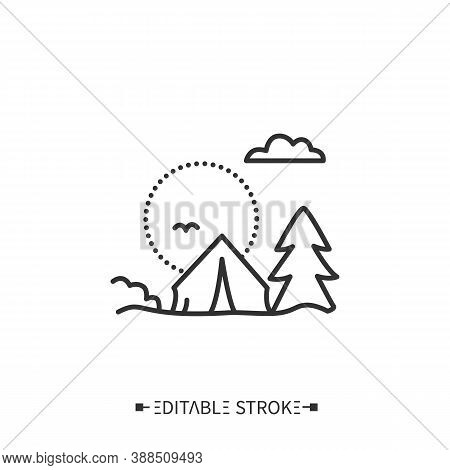 Camping Line Icon. Touristic Overnight Stay In A Tent Or Recreational Vehicle. Picnic. Adventure Tou