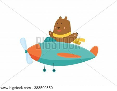 Cute Bear Flying An Airplane With Scarf Fluttering. Funny Pilot Flying On Planes. Cartoon Vector Ill