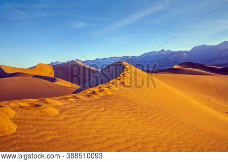 Human footprints visible along the crest of the dune. Mesquite Flat Sand Dunes - dunes in Death Valley. The morning. The sand lies in light waves. The concept of extreme and photo tourism