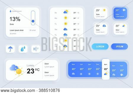 Gui Elements For Weather Forecast Mobile App. Temperature, Atmospheric Pressure, Weather Condition U
