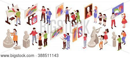 Isometric Art Gallery Icon Set With Human Characters Of Artists And Exhibition Visitors On Blank Bac