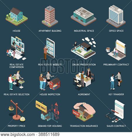 Real Estate Agency Isometric Set With Images Of Buildings Characters Of Agents With Clients And Text