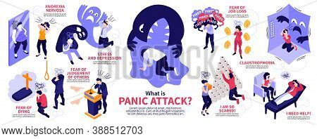 Isometric Panic Attack People Infographics With Human Characters Representing Various Syndromes Dise
