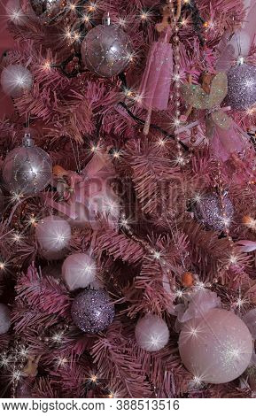 Pink Christmas Balls, Decorations, Scenery Close Up