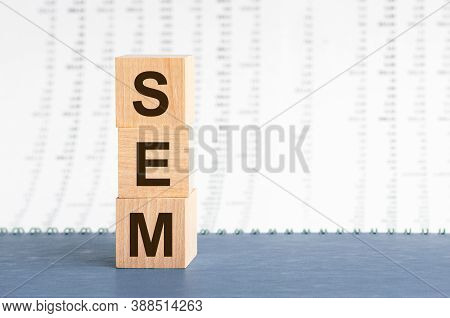Text Sem On Vertical Row Of Wooden Blocks On The Background Of Columns Of Numbers