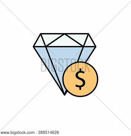 Diamond, Dollar Colored Icon. Element Of Finance Illustration. Signs And Symbols Colored Icon Can Be
