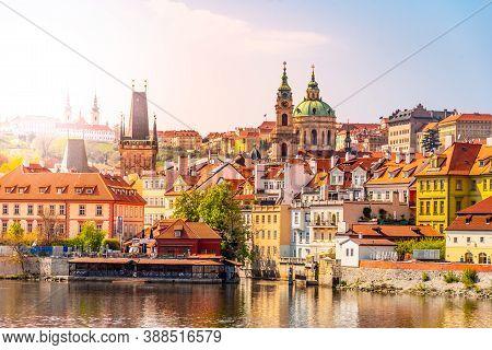 Lesser Town Of Prague. View From Opposite Embankment Of Vltava River, Praha, Czech Republic