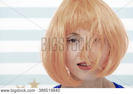 Cosmetics For Care And Revival. Woman Red Ginger Wig And Make Up Close Up. Coloring And Treatment Pr