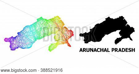 Network And Solid Map Of Arunachal Pradesh State. Vector Structure Is Created From Map Of Arunachal