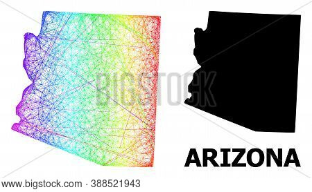 Network And Solid Map Of Arizona State. Vector Model Is Created From Map Of Arizona State With Inter