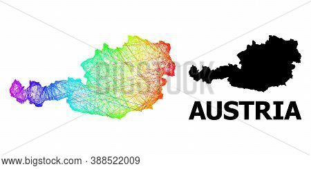 Wire Frame And Solid Map Of Austria. Vector Structure Is Created From Map Of Austria With Intersecte