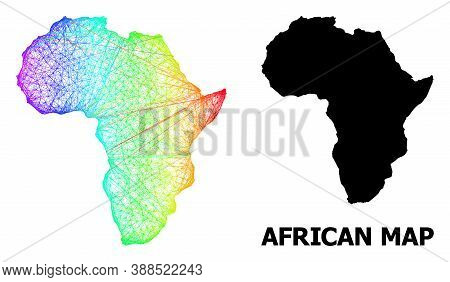 Wire Frame And Solid Map Of Africa. Vector Model Is Created From Map Of Africa With Intersected Rand