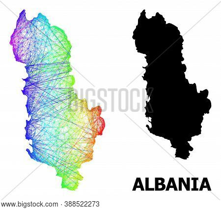 Wire Frame And Solid Map Of Albania. Vector Model Is Created From Map Of Albania With Intersected Ra