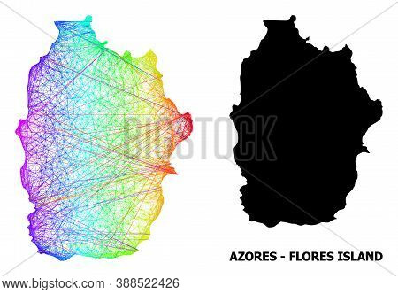 Wire Frame And Solid Map Of Azores - Flores Island. Vector Structure Is Created From Map Of Azores -