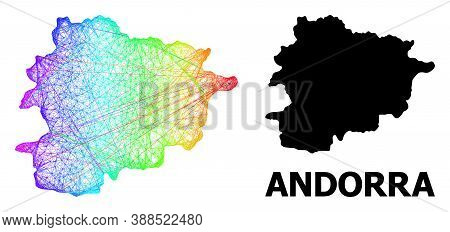 Wire Frame And Solid Map Of Andorra. Vector Model Is Created From Map Of Andorra With Intersected Ra